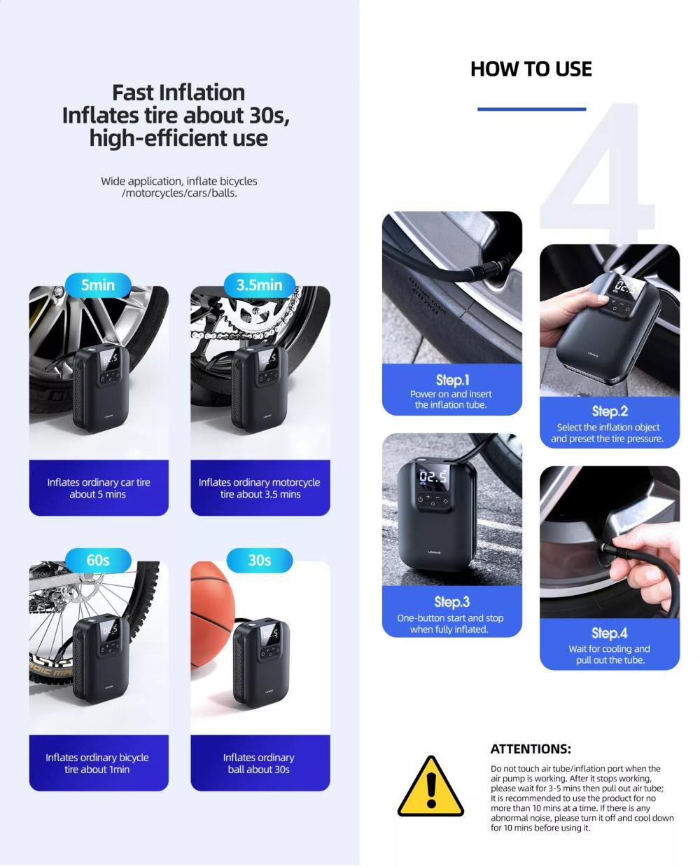 Usams Handheld Mini Smart Air Compressor Pump Car Tire Pressure Inflators (3)