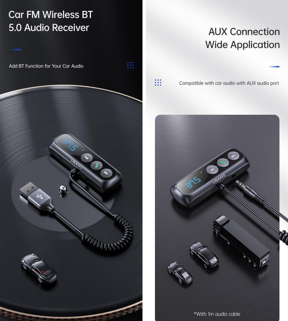 Usams Sj503 Car Digital Display Fm Transmitter Bt5 0 Wireless Audio Receiver (2)