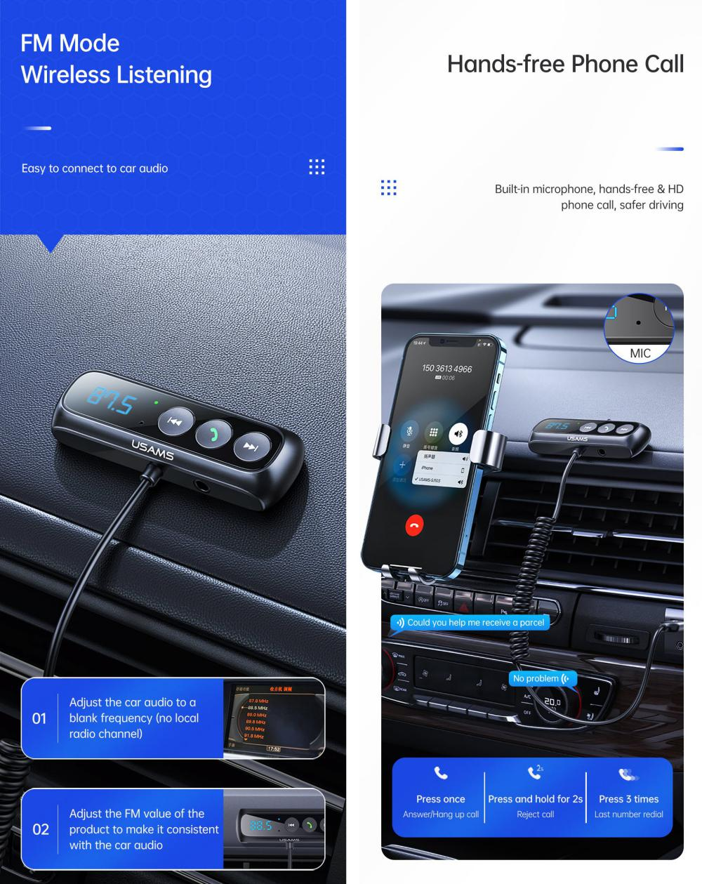 Usams Sj503 Car Digital Display Fm Transmitter Bt5 0 Wireless Audio Receiver (3)
