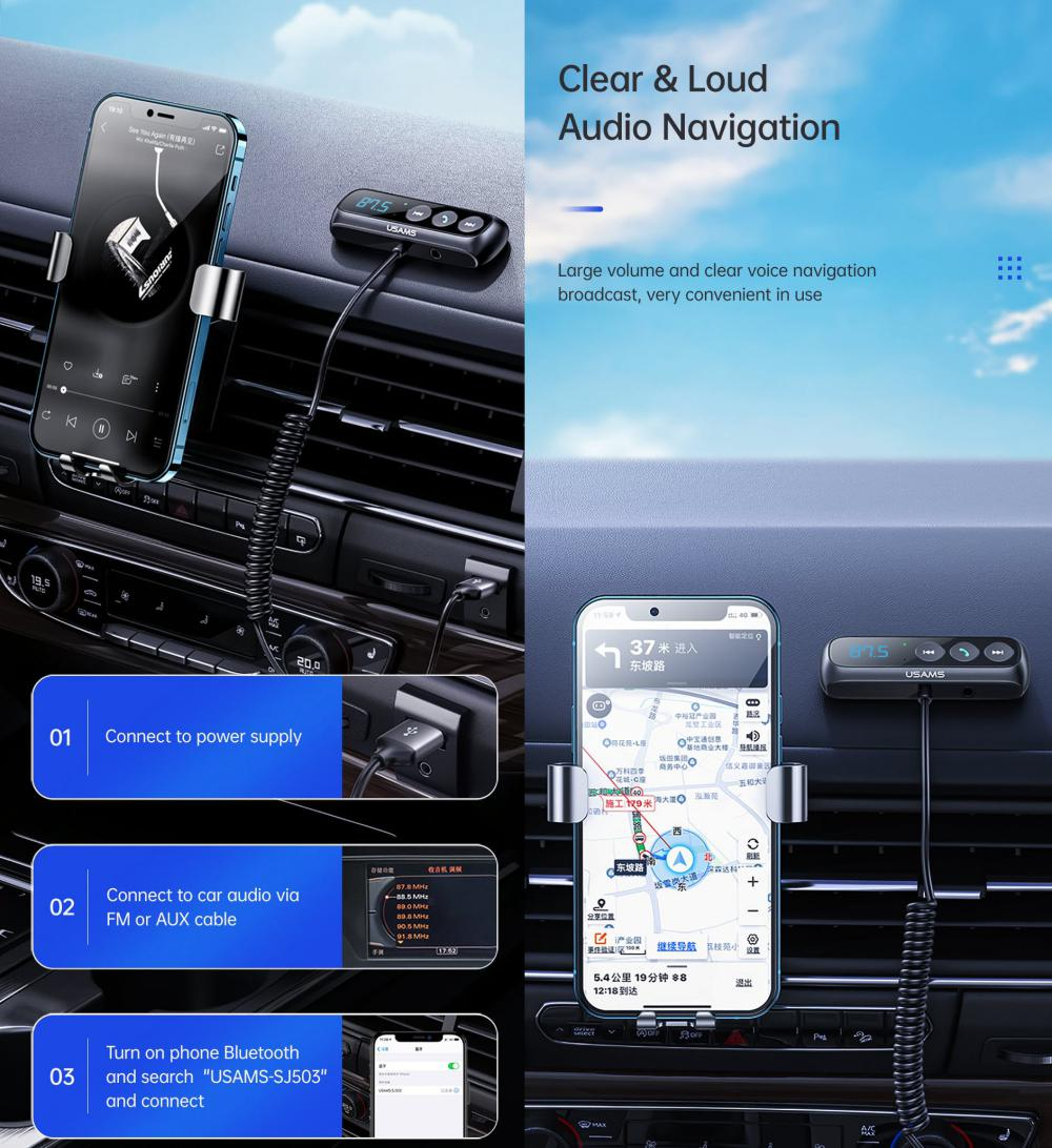 Usams Sj503 Car Digital Display Fm Transmitter Bt5 0 Wireless Audio Receiver (4)