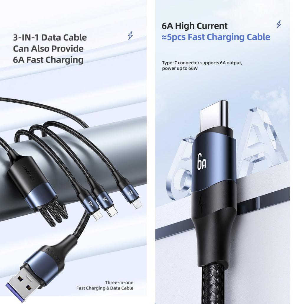 Usams Us Sj510 U71 3in1 Aluminum Alloy Fast Charging Data Cable 6a 1 2m (5)