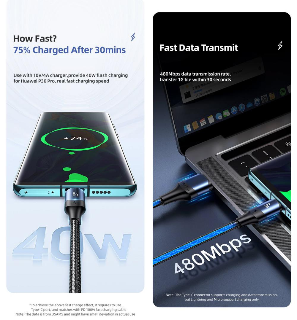 Usams Us Sj510 U71 3in1 Aluminum Alloy Fast Charging Data Cable 6a 1 2m (7)