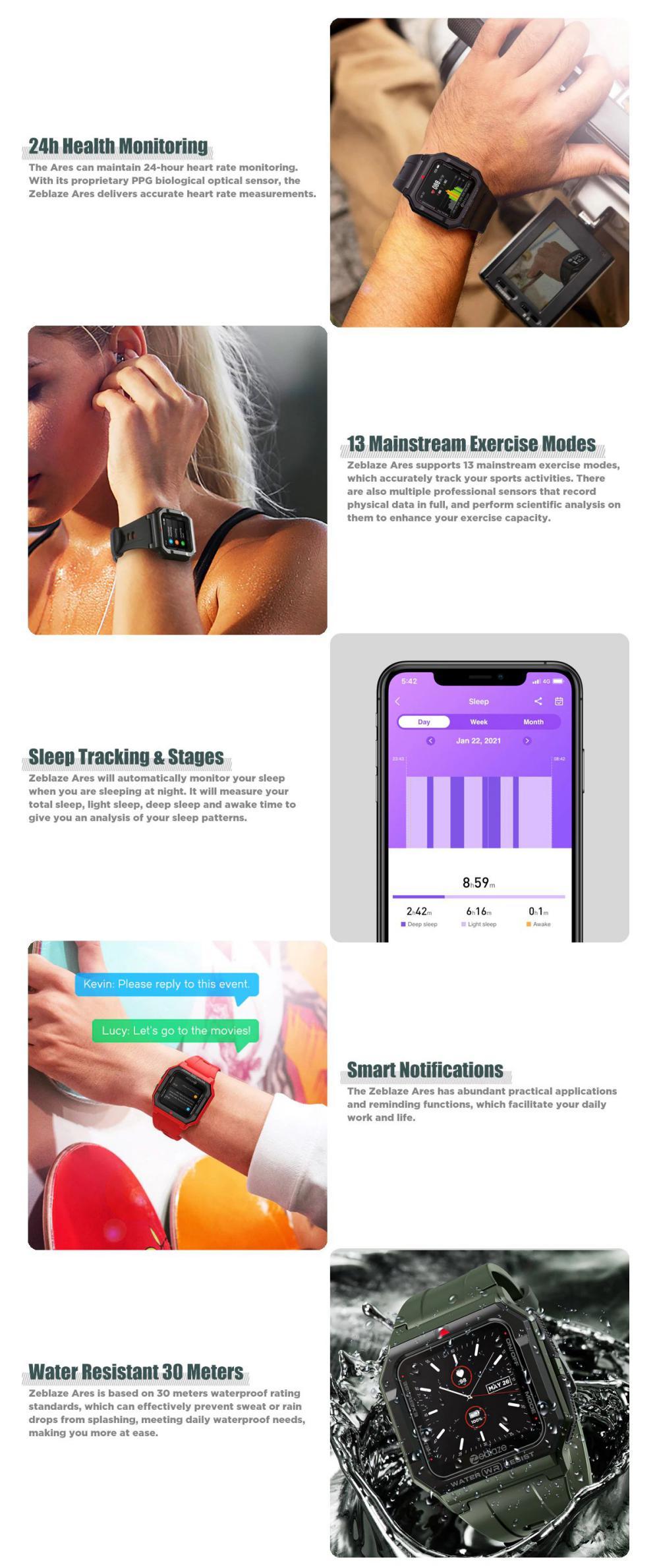 Zeblaze Ares Smart Watch Bluetooth 5 1 Heart Rate Tracking Smartwatch (7)