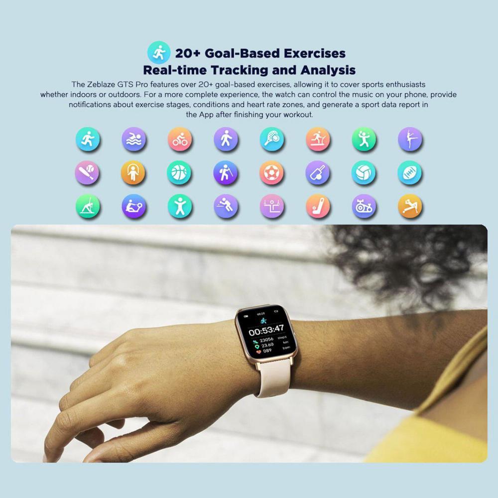 Zeblaze Gts Pro 1 65 Hd Color Touch Screen Health Fitness Smartwatch (2)