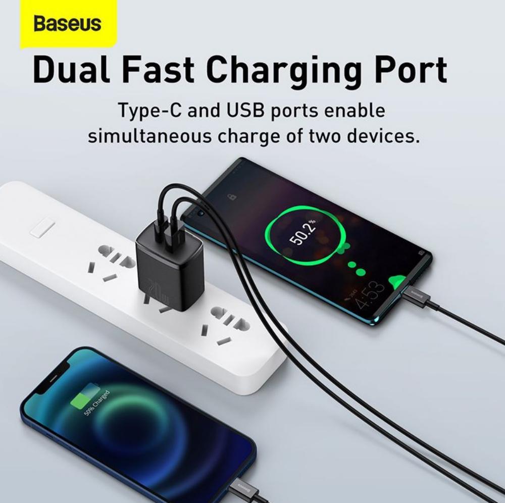 Baseus Ccxj 01 Compact Super Quick Charger Dual Port Uc 20w Cn (4)