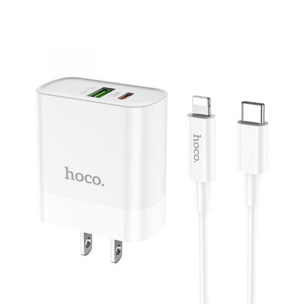 Hoco C80 Fast Charger 18w Dual Port Charger With Type C To Type C Data Cable (1)