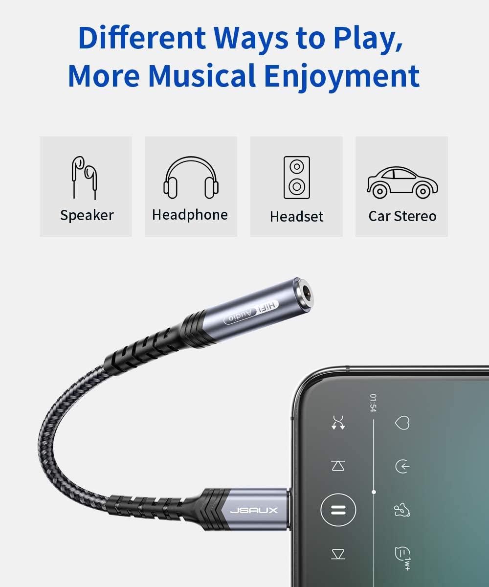 Jsaux Iphone Headphones Adapter Lightning To Audio Jack Converter Apple Mfi Certified (2)