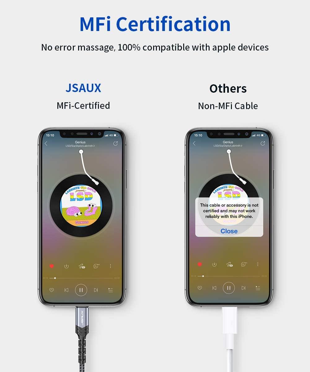 Jsaux Iphone Headphones Adapter Lightning To Audio Jack Converter Apple Mfi Certified (4)