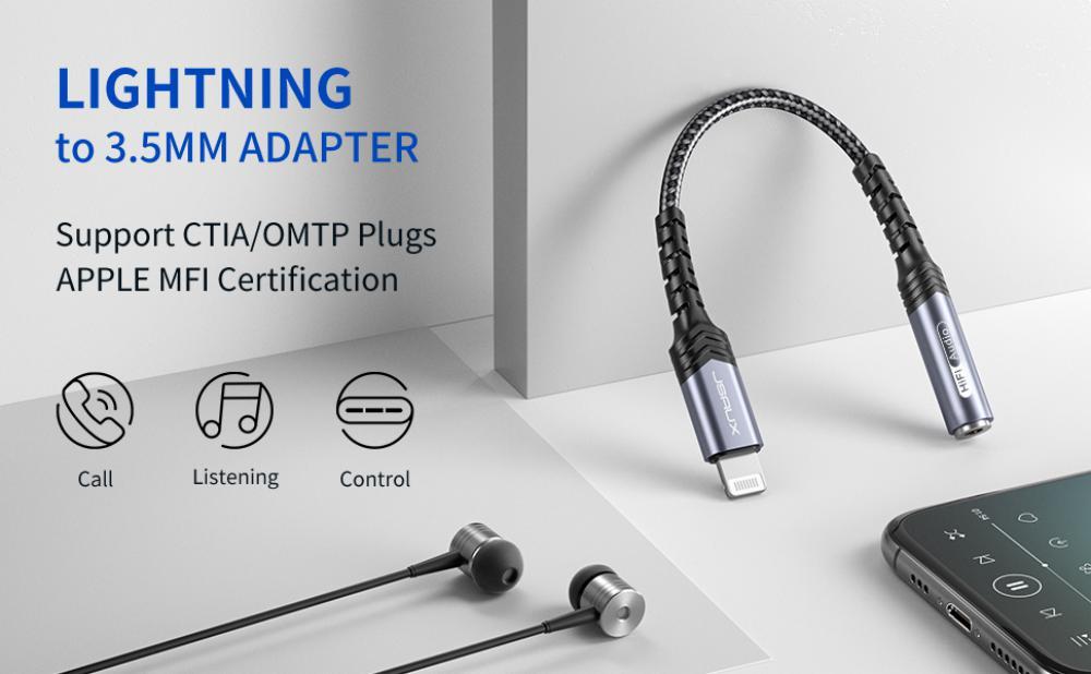 Jsaux Iphone Headphones Adapter Lightning To Audio Jack Converter Apple Mfi Certified (9)