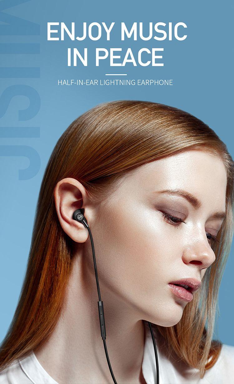 Mcdodo Hp 6120 Achievement Series Lightning Earphone Support Call Volume Control (2)