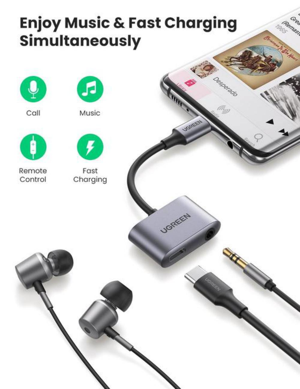 Ugreen 2 In 1 Usb C To 3 5mm Adapter With Usb C Charging Port (2)