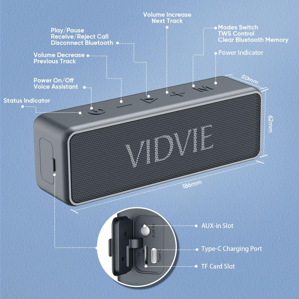 Vidvie Wireless Speaker 20w Sp914 Ipx 7 Tws Connect Tf Card Slot (3)
