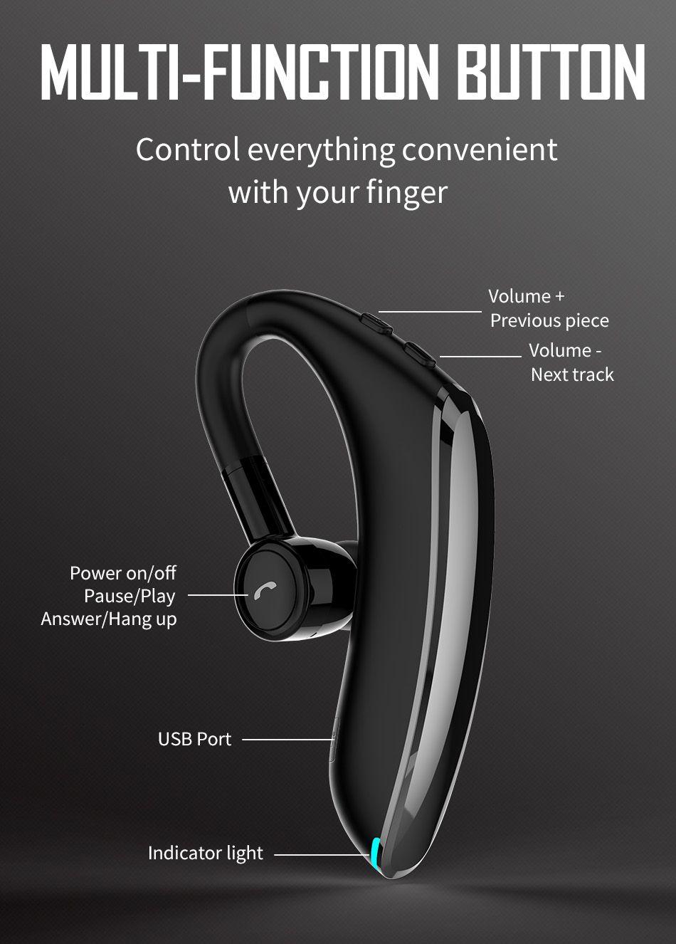 Wiwu Solo Max Bluetooth 5 0 Single Ear Bluetooth Earphone (1)