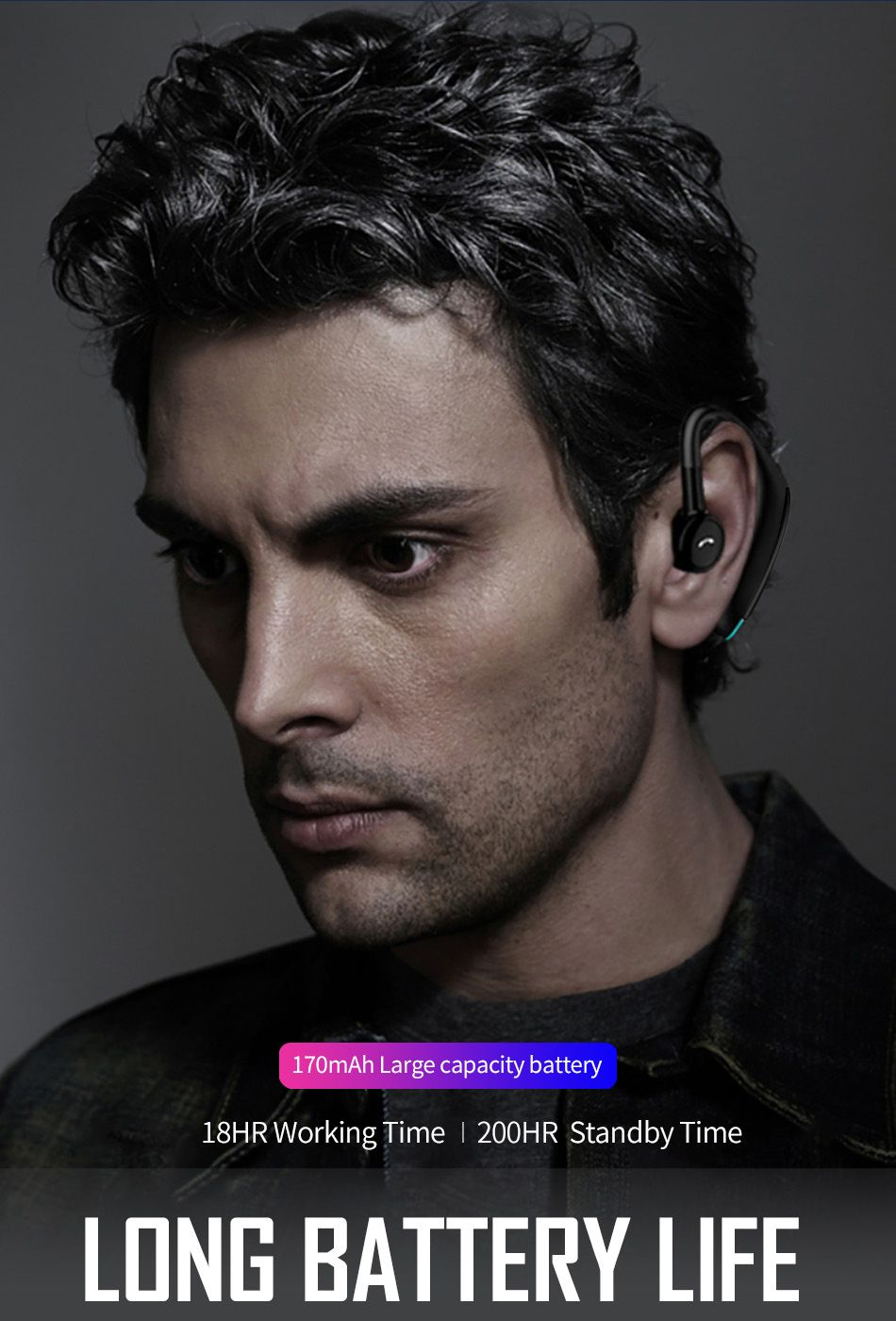 Wiwu Solo Max Bluetooth 5 0 Single Ear Bluetooth Earphone (4)