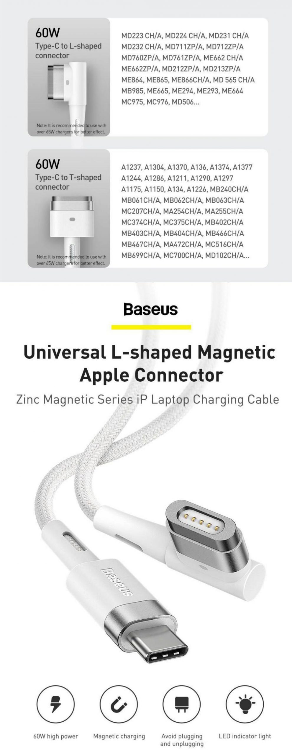 Baseus 60w Magnetic Type C To Lightning L Shaped Port For Macbook Air Macbook Pro (4)