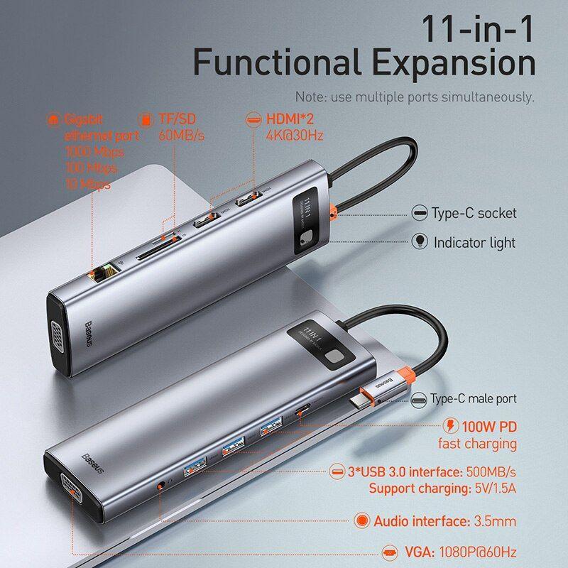 Baseus Metal Gleam Series 11 In 1 Multifunctional Type C Hub Docking Station (5)