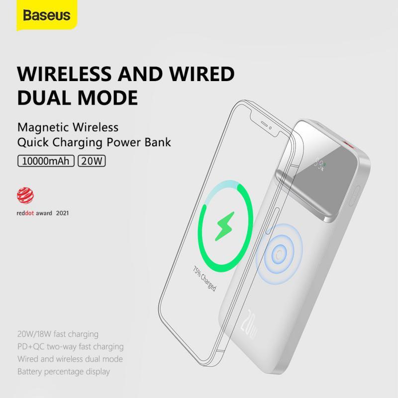 Baseus Power Bank 10000mah Portable 20w Magnetic Wireless Charger White (2)