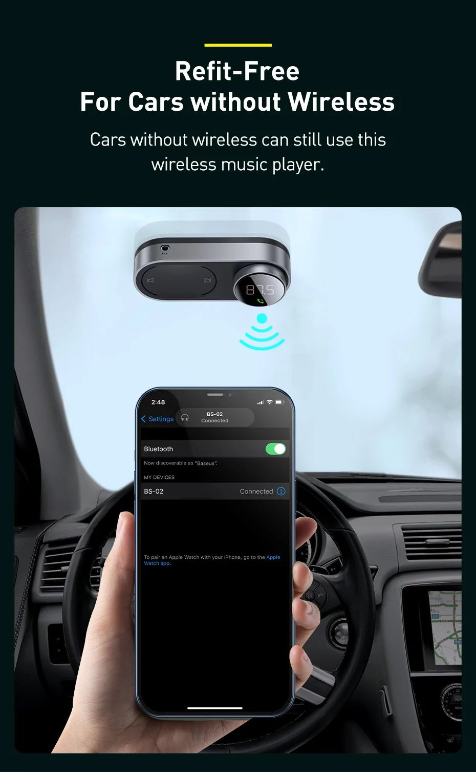 Baseus Solar Car Wireless Bluetooth Mp3 Player Black (3)