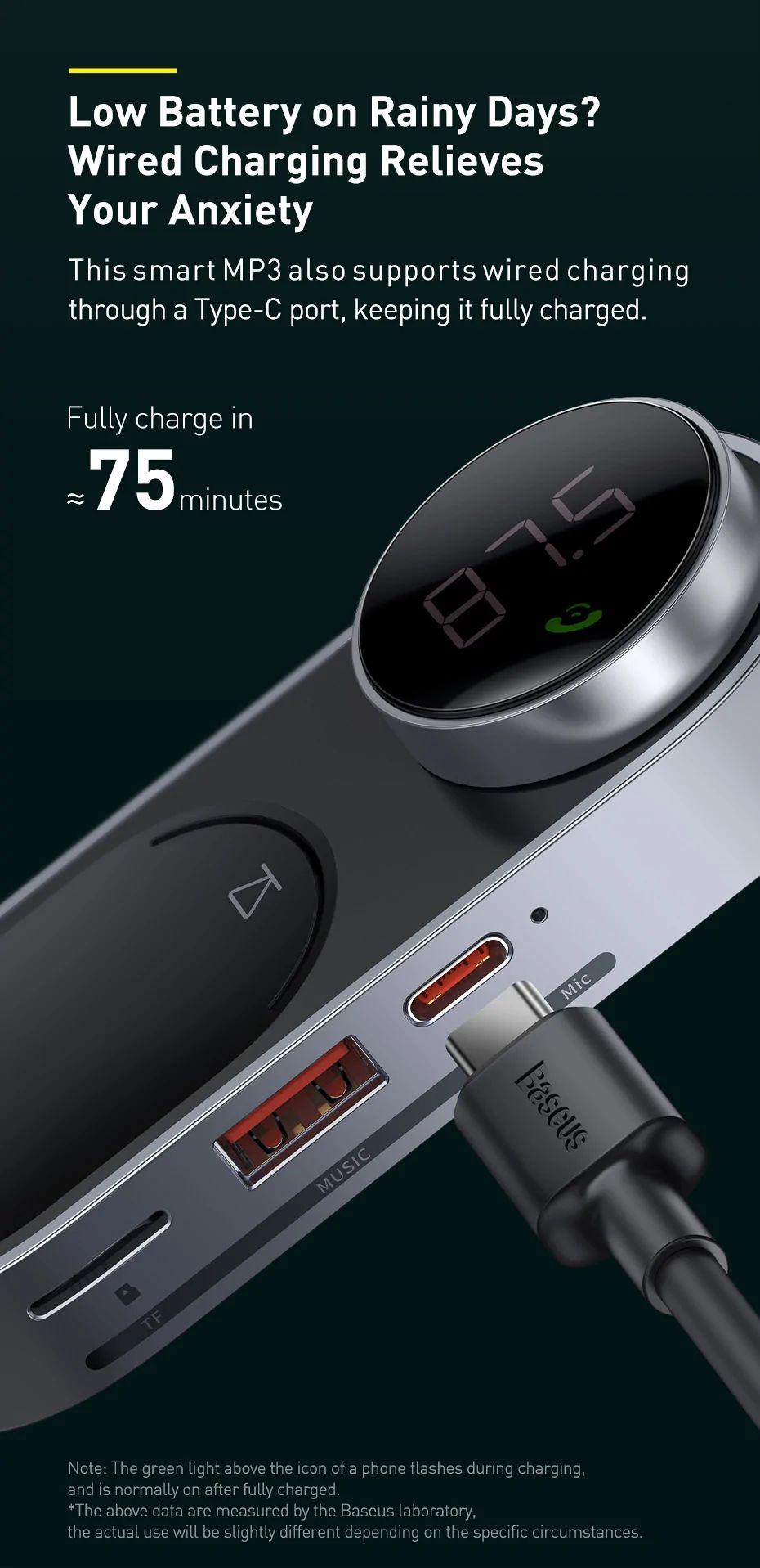 Baseus Solar Car Wireless Bluetooth Mp3 Player Black (4)