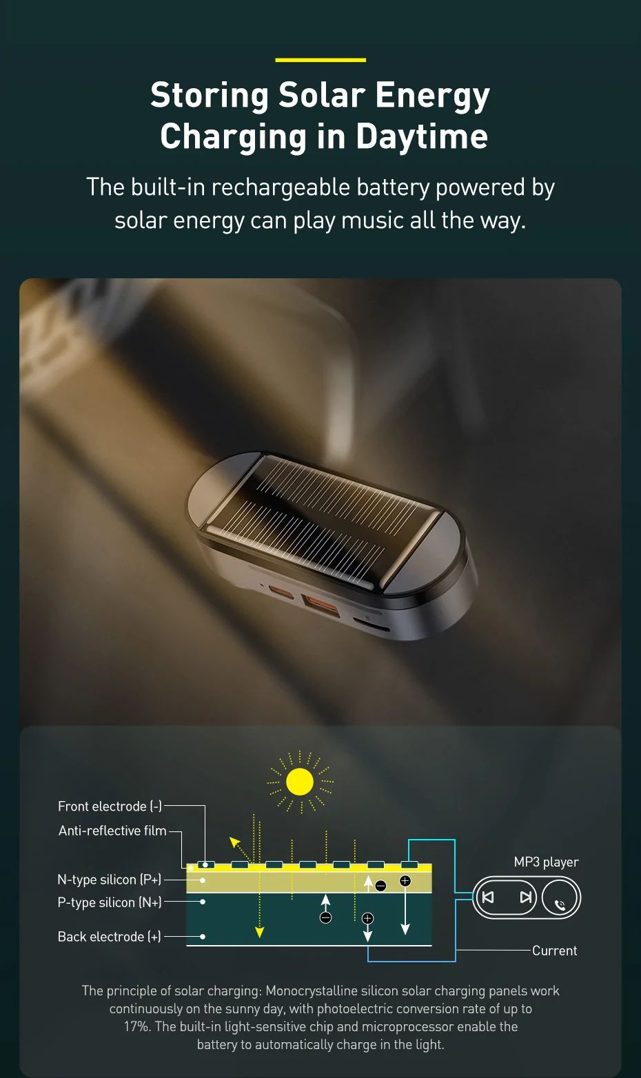 Baseus Solar Car Wireless Bluetooth Mp3 Player Black (5)