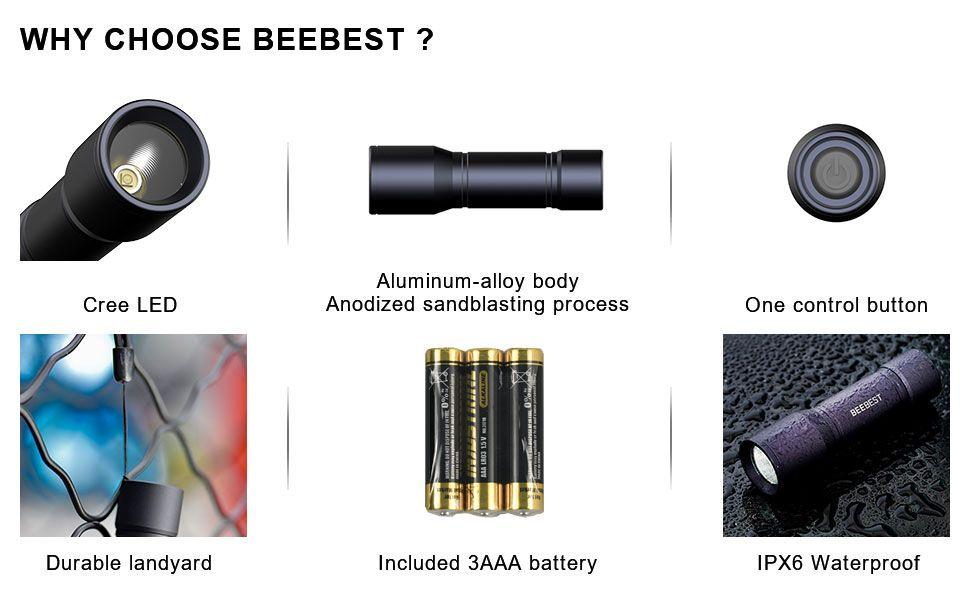 Beebest Led Tactical Flashlight S3000 Mini Pocket Flashlights (5)
