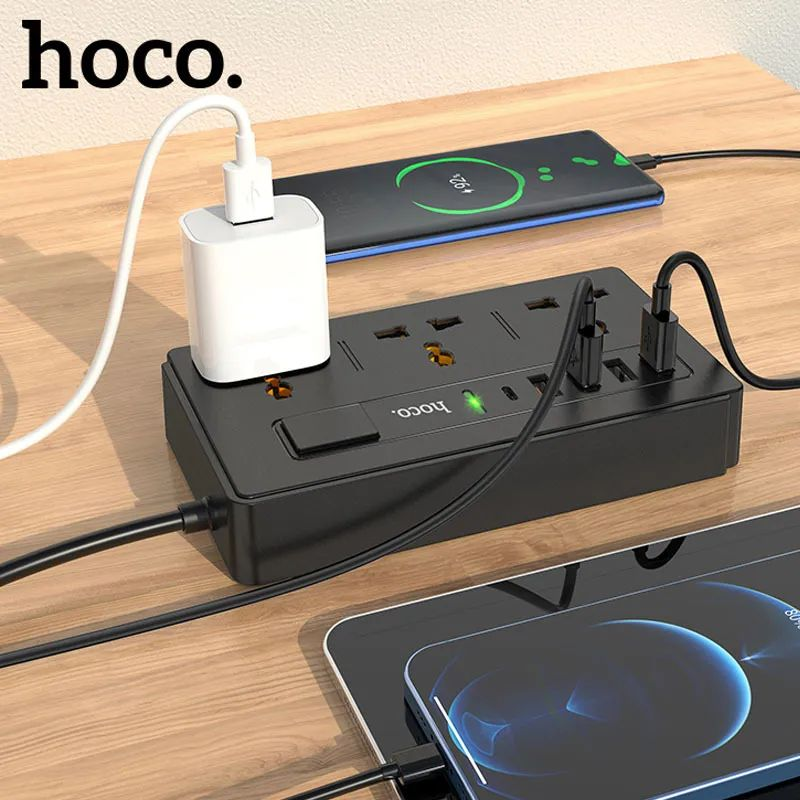 Hoco Dc15 Pd18w Two In One Multi Socket Extension Charger (4)