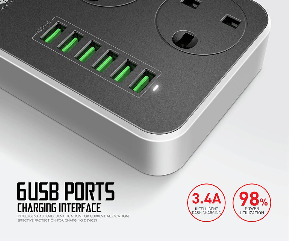 Ldnio Sk3662 Smart Power Strip Usb 6 Port (1)