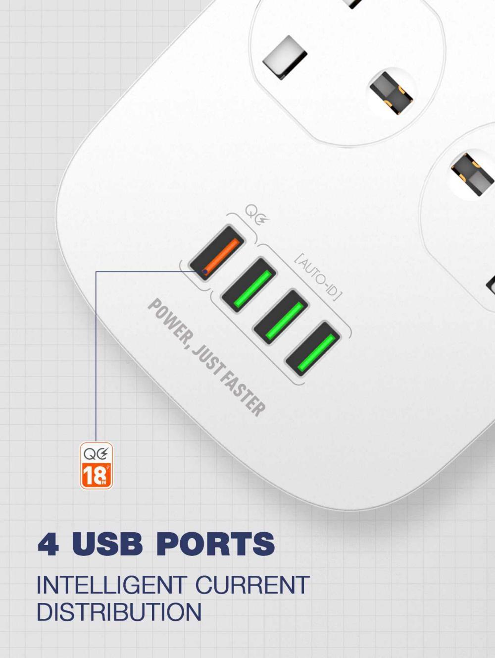 Ldnio Sk4463 Tabletop Power Socket 250v Qc3 0 4 Port Extension Adapter 4 Usb 10a (2)