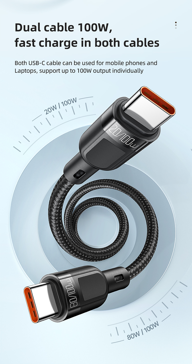 Mcdodo 2 In 1 Type C To Dual Type C Cable 1 2m 100w Max (2)