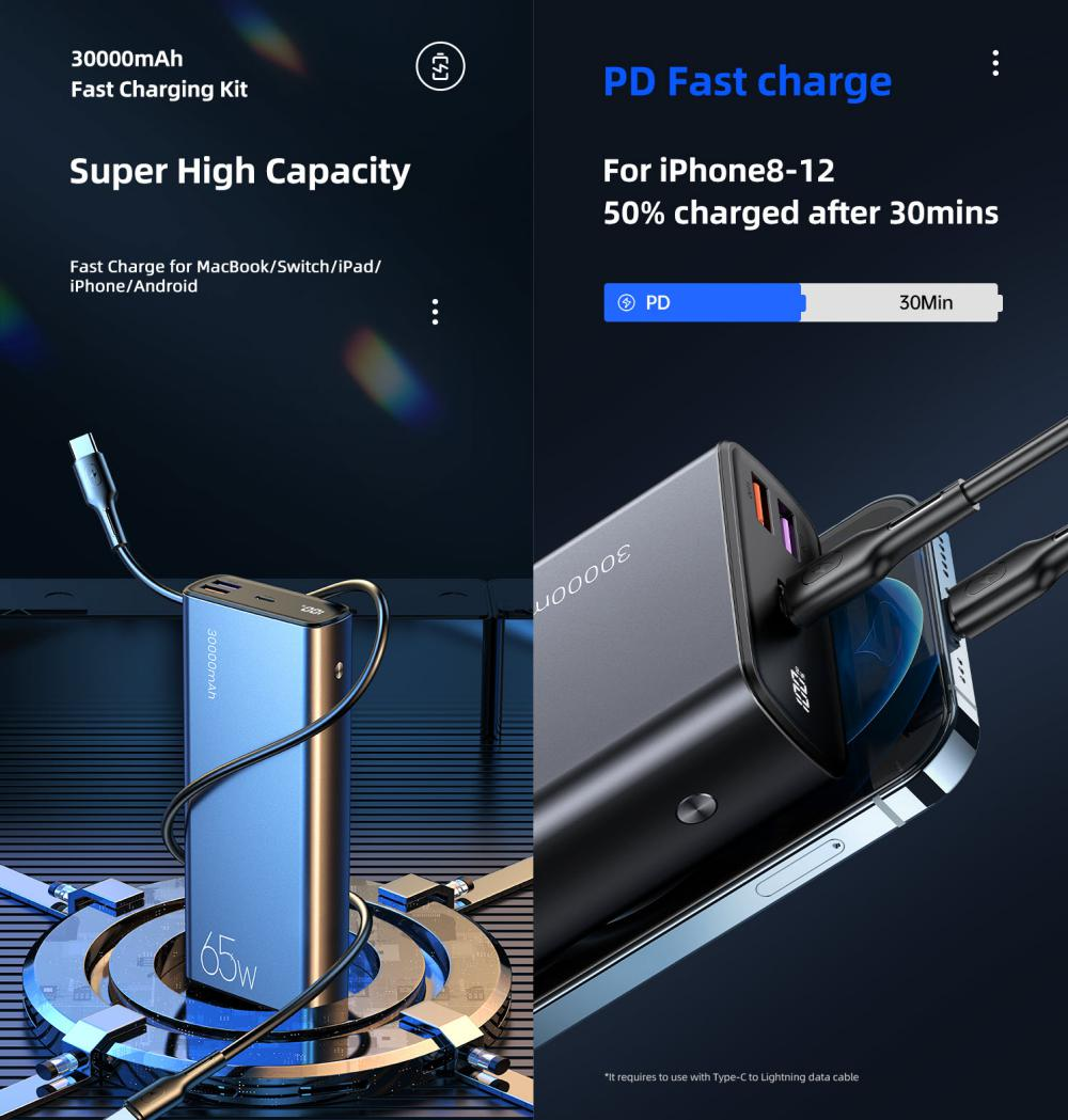 Usams Pb59 65w Fast Charging Power Bank 30000mah U43 100w Type C To Type C Pd Cable (1)