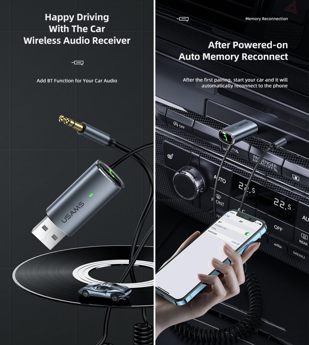 Usams Us Sj504 Aluminum Alloy Car Wireless Audio Receiver (2)