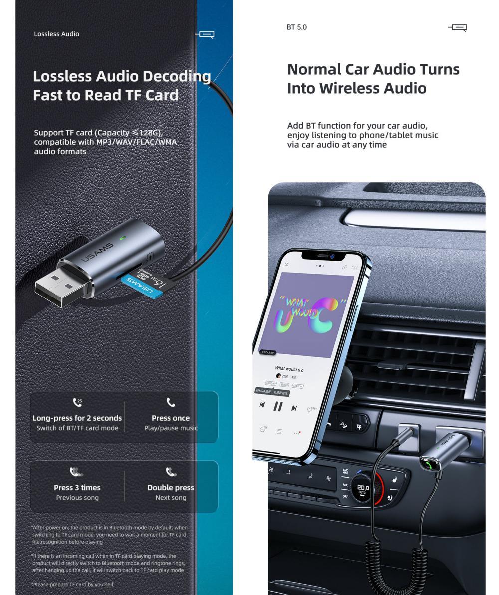 Usams Us Sj504 Aluminum Alloy Car Wireless Audio Receiver (3)
