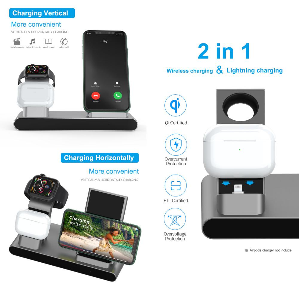 Wiwu 18w Power Air 3 In 1 Wireless Charger For Iphone Iwatch Airpods (1)