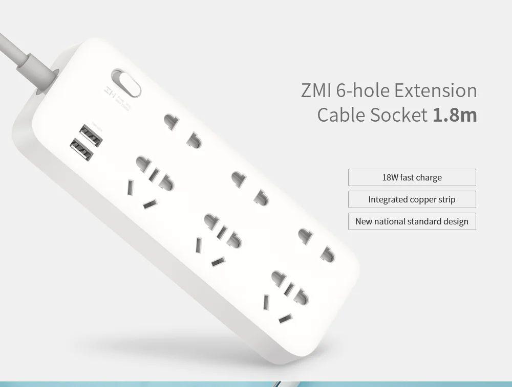Xiaomi Zmi 18w Power Strip 6 Ac Sockets (3)