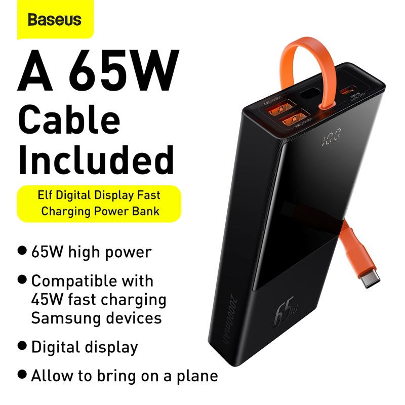 Baseus Eff 65w Power Bank 20000mah With Type C Cable Power (8)