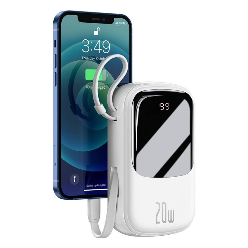 Baseus Qpow Digital Display Power Bank 20000mah 20w With Ip Cable White (1)