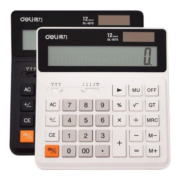 Deli Dual Power 12 Number Display Special Calculator With Intelligent Shutdown (1)