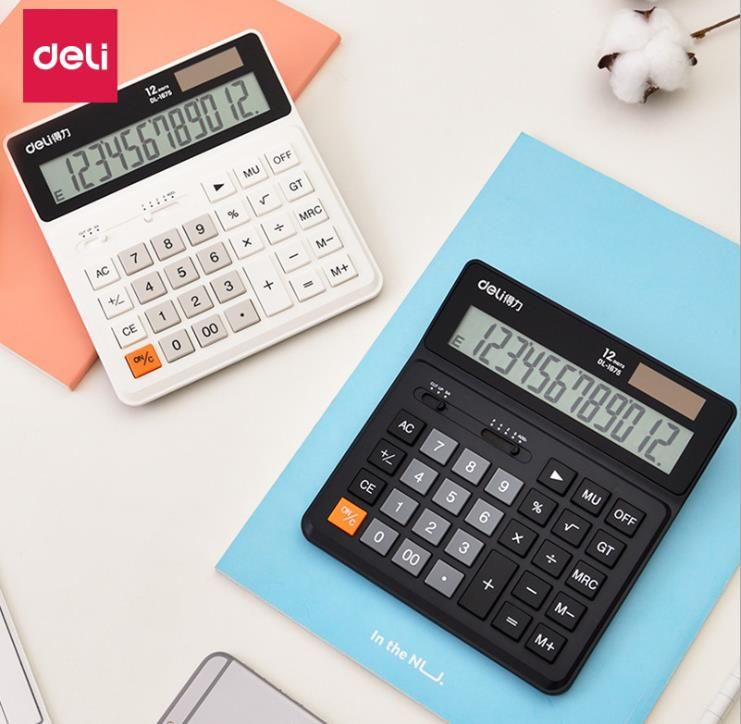Deli Dual Power 12 Number Display Special Calculator With Intelligent Shutdown (2)