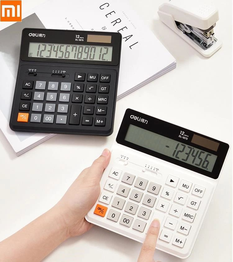 Deli Dual Power 12 Number Display Special Calculator With Intelligent Shutdown (4)