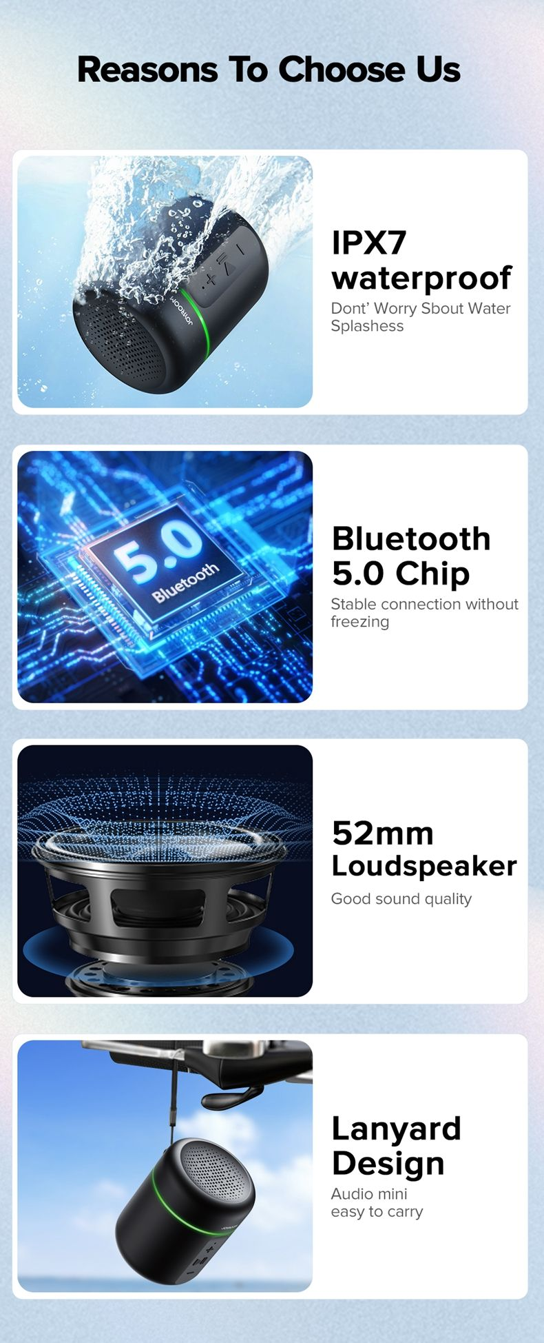 Joyroom Jr Ml02 Ipx7 Waterproof Bluetooth Speaker Wireless (4)