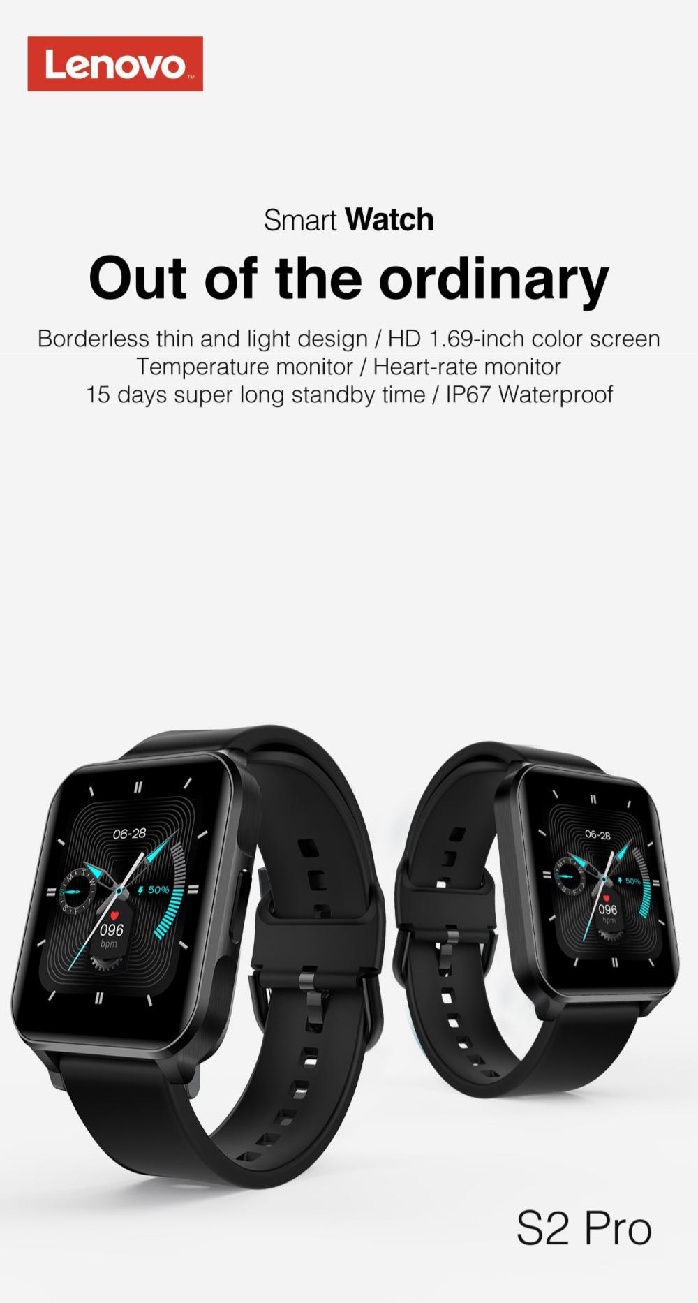 Lenovo S2 Pro Smart Watch Ip67 Waterproof Ips Full Screen (2)