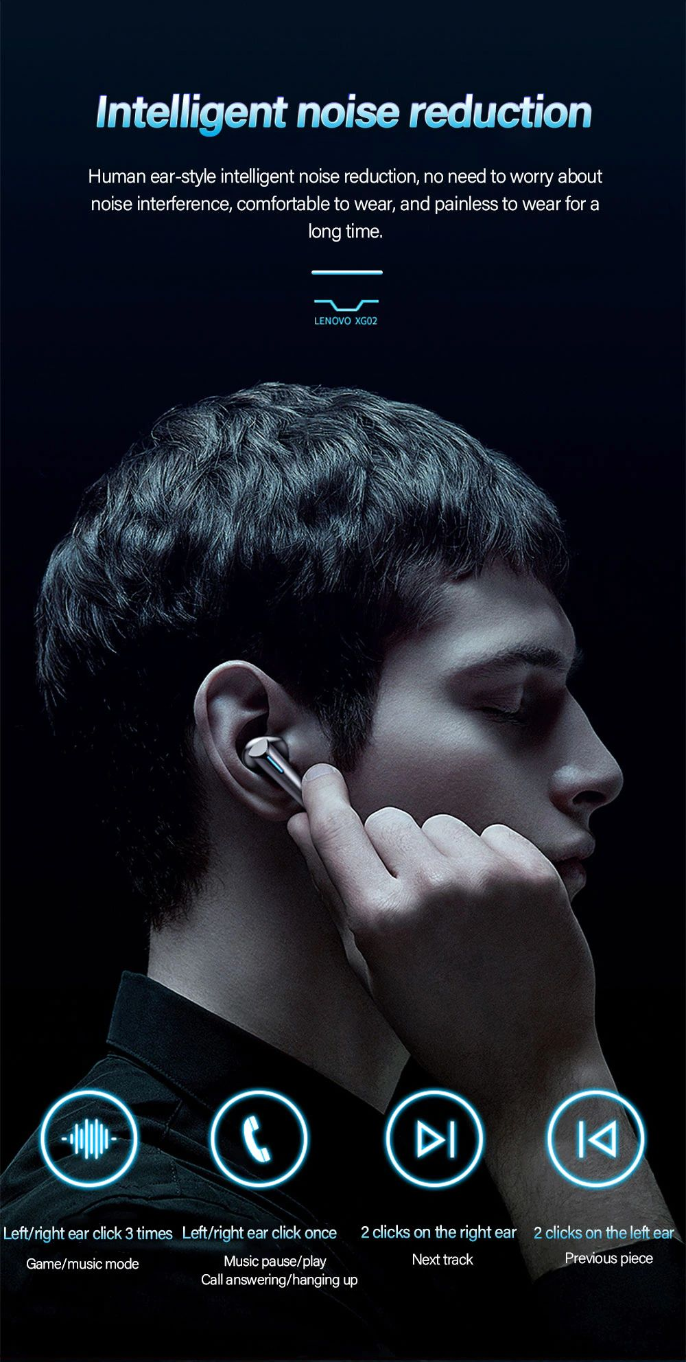 Lenovo Xg02 Wireless Bt5 0 Gaming Earbuds (3)