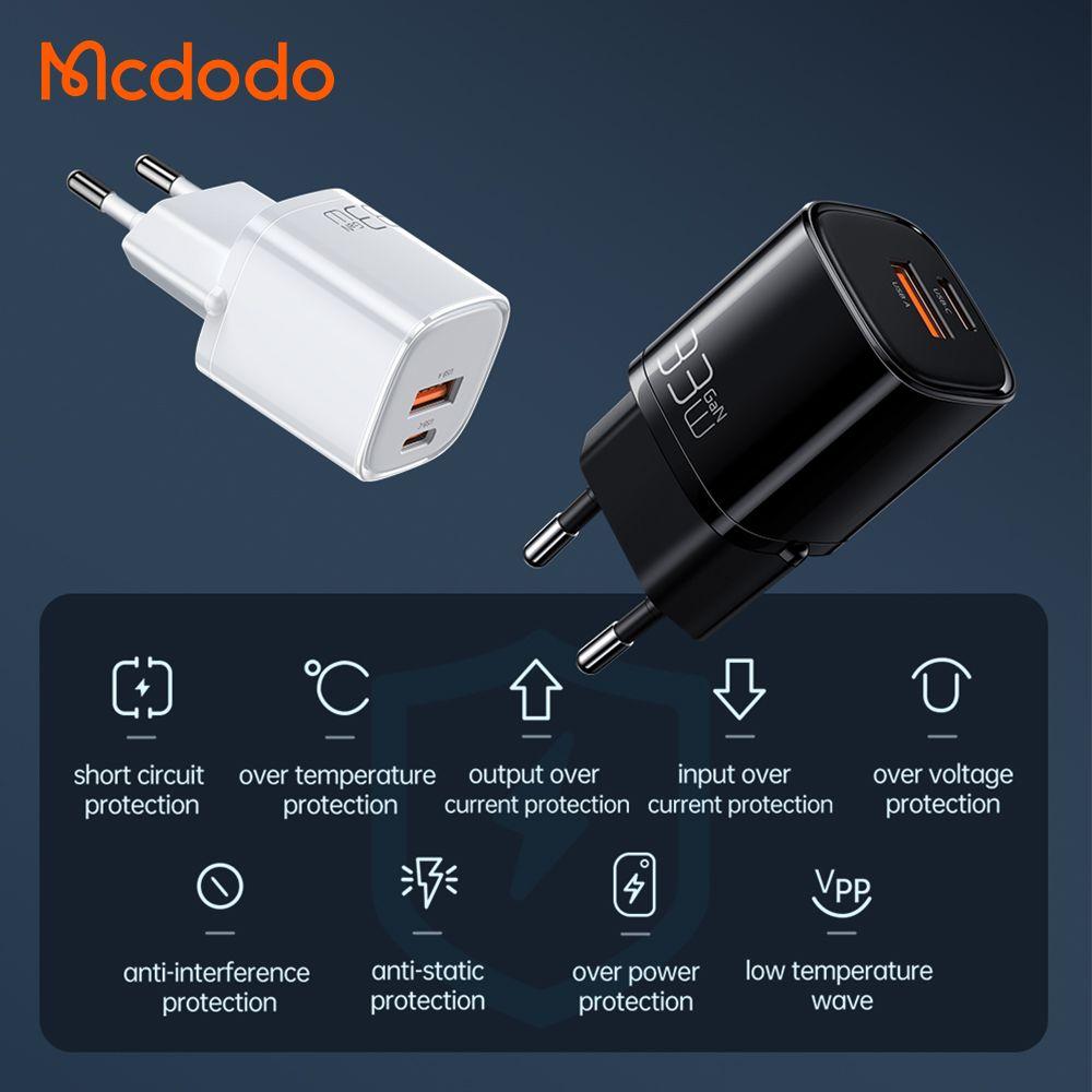 Mcdodo Eu Plug 33w Gan Dual Ports Usb A And Usb C Pd Qc Fast Charger (2)