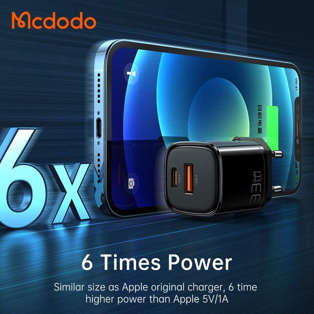 Mcdodo Eu Plug 33w Gan Dual Ports Usb A And Usb C Pd Qc Fast Charger (3)