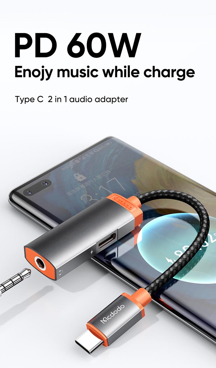 Mcdodo Mdd Ca 050 Digital Audio Earphones Adapter With Dc3 5mm Jack Type C Charging Port (1)
