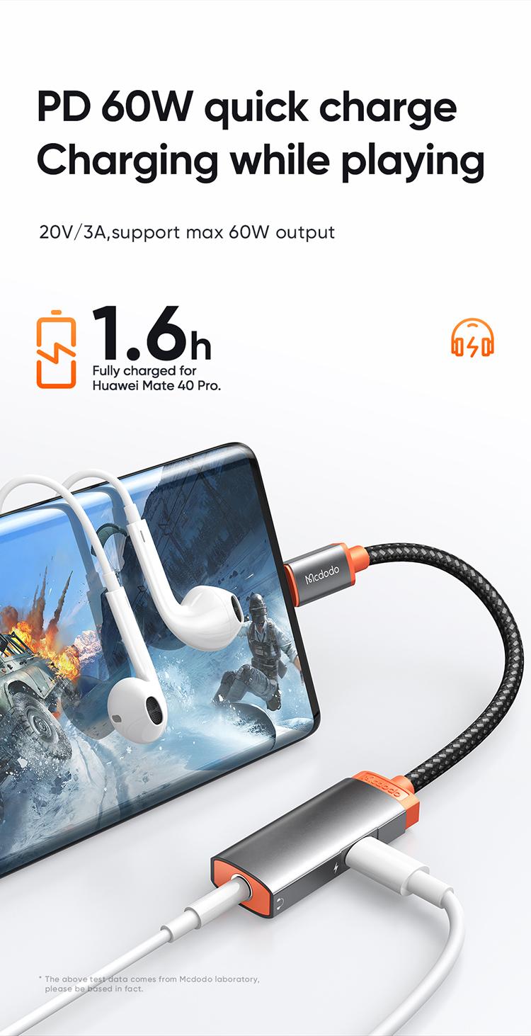 Mcdodo Mdd Ca 050 Digital Audio Earphones Adapter With Dc3 5mm Jack Type C Charging Port (2)