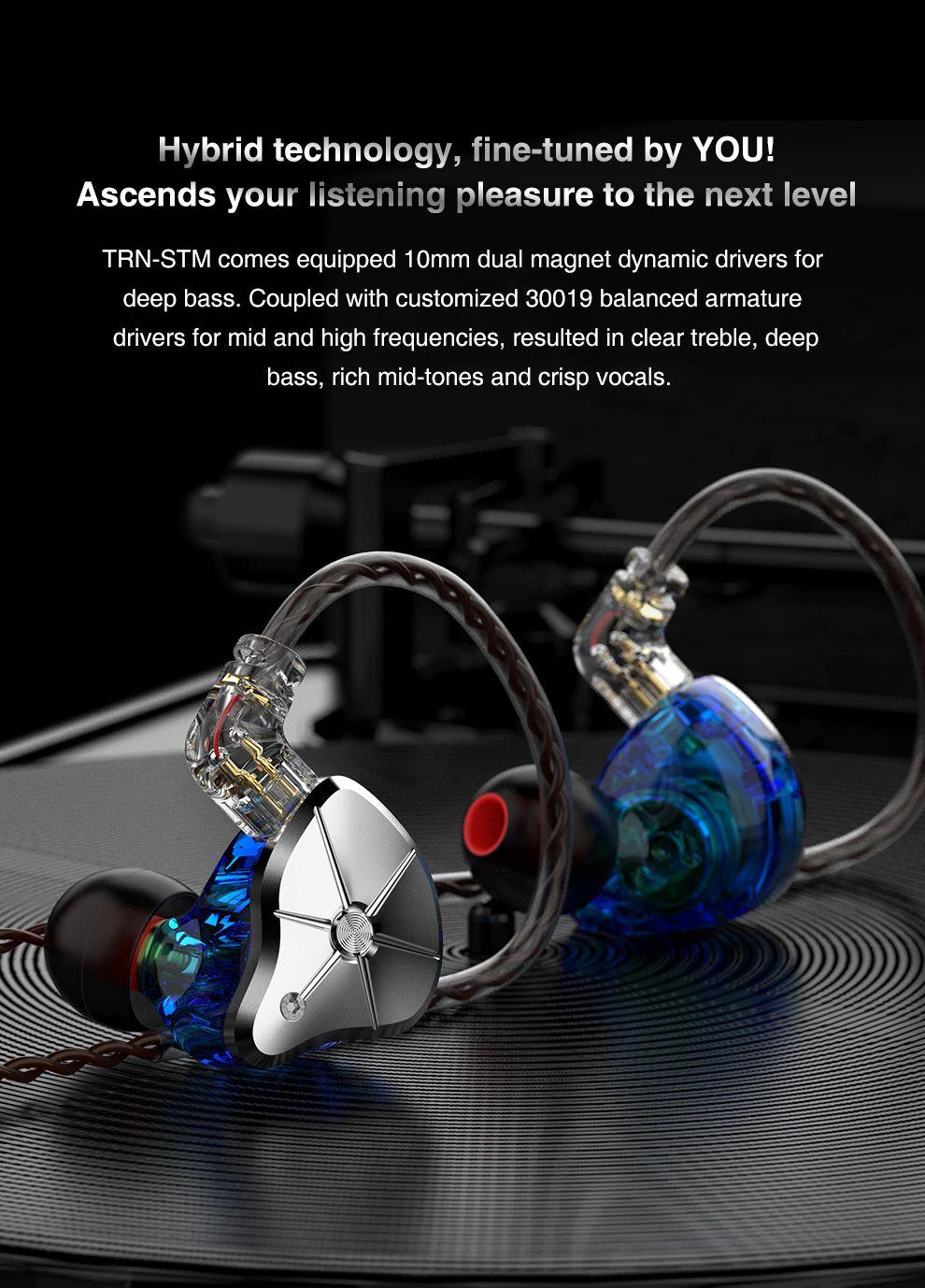 Trn Stm 1dd1ba Hybrid Driver Hifi In Ear Earphones (2)
