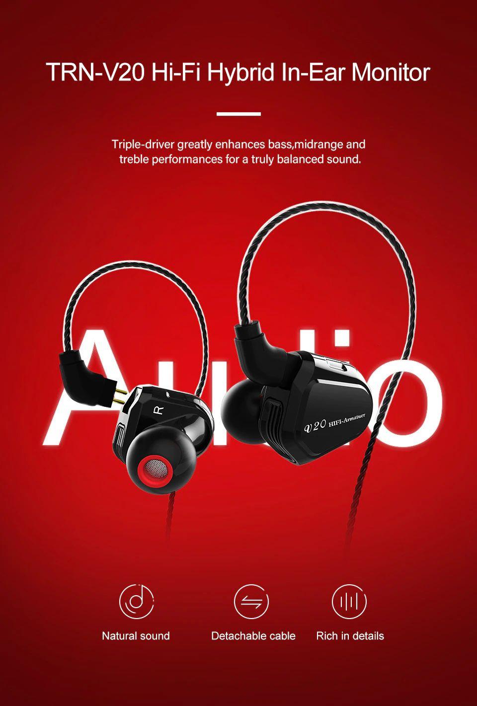 Trn V20 Hybrid In Ear Earphone (4)