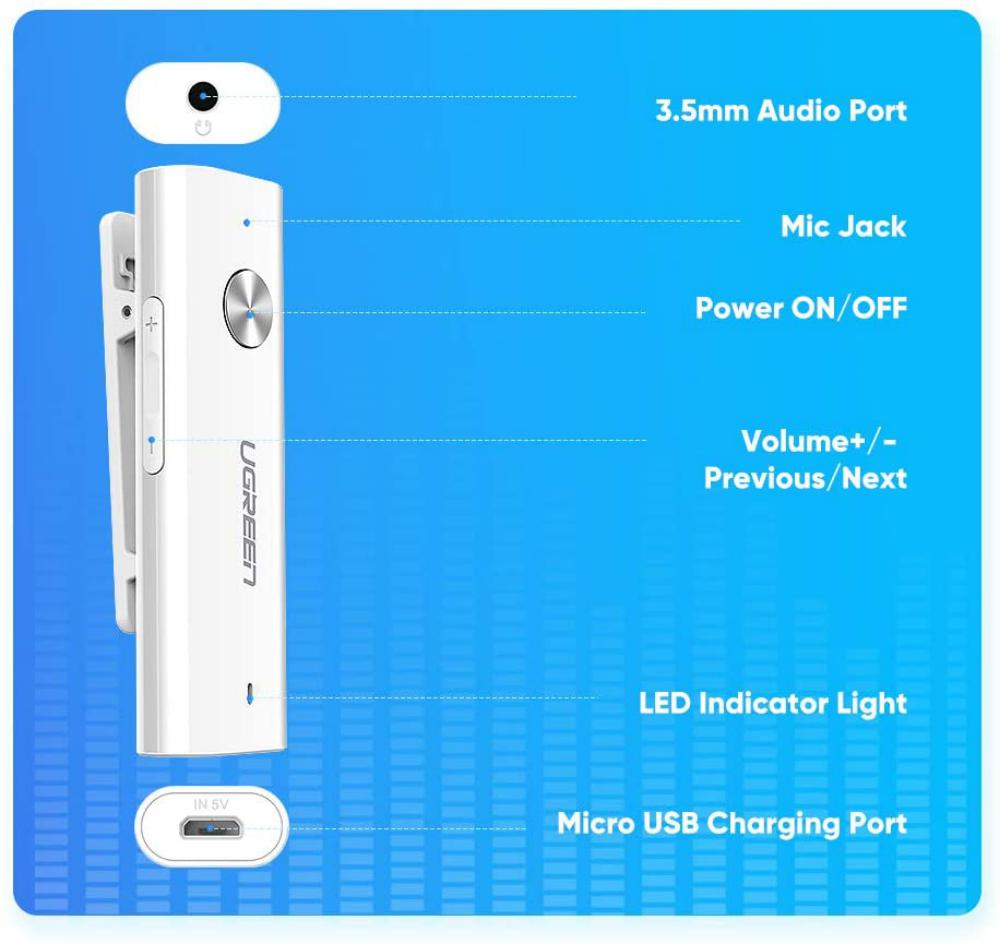 Ugreen Bluetooth 5 0 Receiver Hifi Wireless Audio Adapter With Back Clip (4)