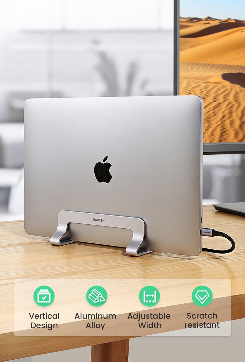 Ugreen Vertical Laptop Stand Holder Aluminum Adjustable Stand (2)